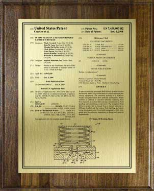 patent plaque-front page-wal-gld